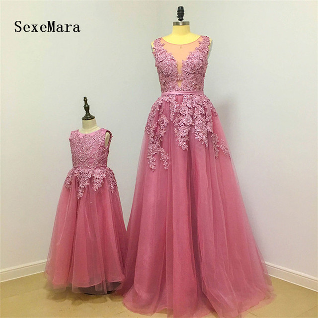 New Dusty Pink Flower Girl Dress Lovely Mother and Daughter Gown Beaded  Lace Floor Length Tulle Girls Pageant Gown Custom Made 2dcdbd59f858