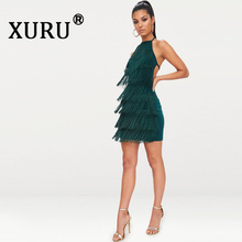 XURU new womens dress halter sexy nightclub strap tassel black dark green