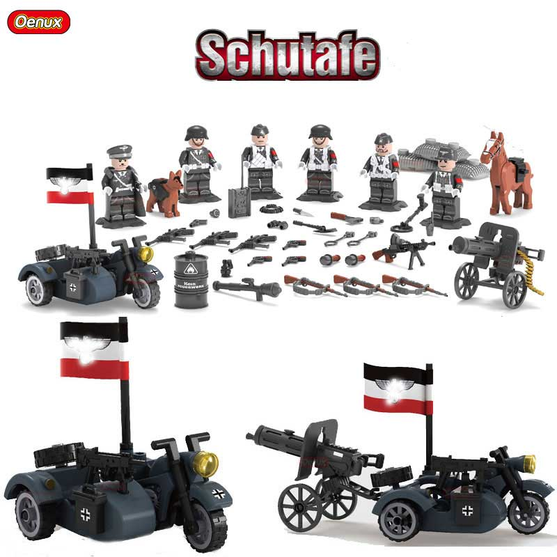 Oenux New World War II Custom WW2 German Blitzkrieg Armored Division Figures With Motorcycle Model Brick Toy For Kids Gift uncanny avengers unity volume 3 civil war ii