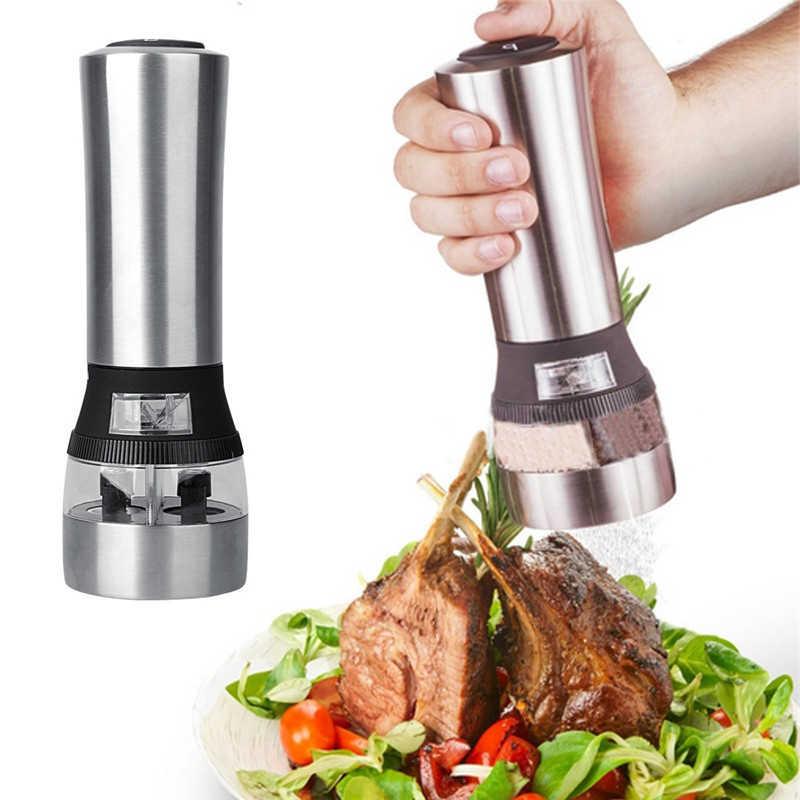 Автоматическая электрическая мельница для перца светодиодный свет соль измельчение перца бутылка бесплатно кухонная приправа измельчения инструмент автоматические мельницы 2018