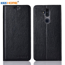 for Nokia X7 case KEZiHOME Litchi Genuine Leather Flip Stand