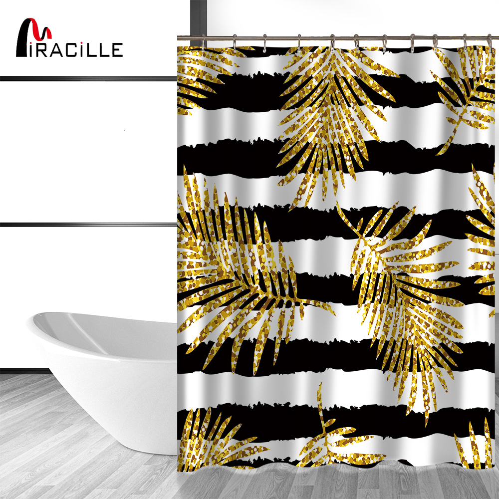 Yellow and black shower curtain - Miracille Modern Glitter Gold Leaves Pineapple Print Shower Curtains Polyester Waterproof Cat Flamingo Style Bathroom Curtain