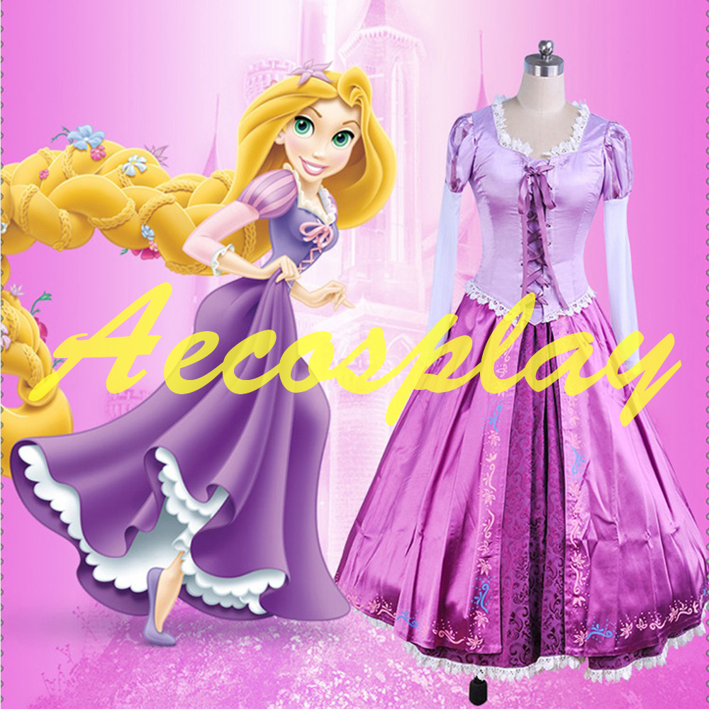 Adult Rapunzel cosplay costume princess Tangled Sofia dress Halloween Costume for women long Carnival Evening party dresses girl