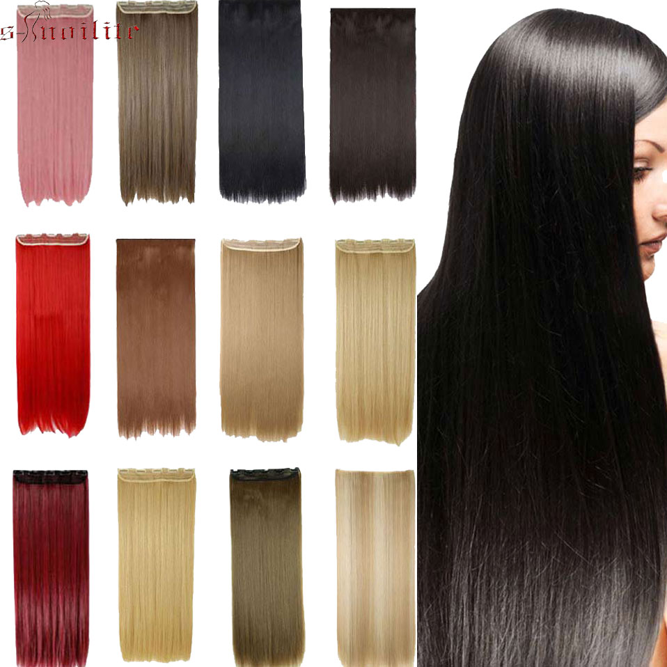 Sunny Soowee 42cm Synthetic Red White Hair Straight Clip In Hair Extensions Cosplay Hairpiece Party Hair For Women Synthetic Clip-in One Piece Hair Extensions & Wigs