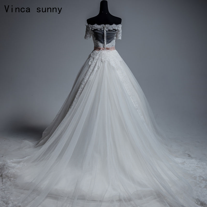 Vinca Sunny 2018 White Ball Gown Wedding Dresses Boat Neck with ...
