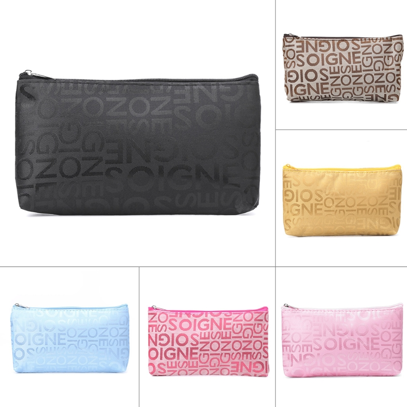 Letter Print multi-color Pen Pencil Case Travel Cosmetic Bag Letter Print Zipper Nylon Multi function Cosmetic Bag