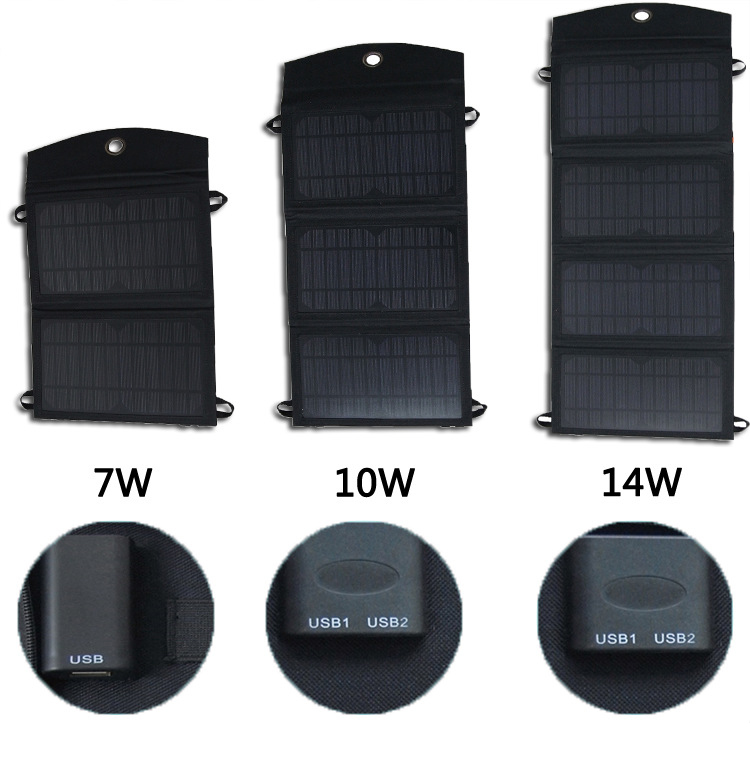 7w 10w 14w portable travel solar battery charger external foldable power bank panel for mobile phone ipad iphone PSP GPS