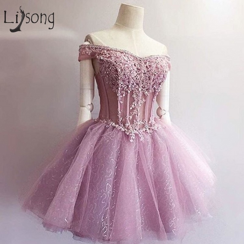 Fashion Lavender Lace Short   Cocktail     Dresses   2018 Appliques Bedaed Seuiqned Mini Prom Gowns Off Shoulder Robe De   Cocktail