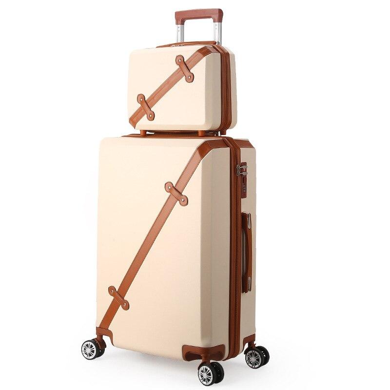 LeTrend 28 pulgadas de alta capacidad Retro rodamiento equipaje Spinner estudiantes contraseña maleta ruedas 20 pulgadas cabina carro bolsa de viaje-in Maletas from Maletas y bolsas    1