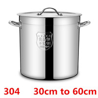 304 Stainless steel big large Capacity bucket pail compound sole thick soup pot commercial household 4mm chef used kitchen pot