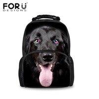 FORUDESIGNS Black Animal 3D Dog Printing Backpack Mens Fashion Brand Designer Casual Bagpack Tiger Head Large