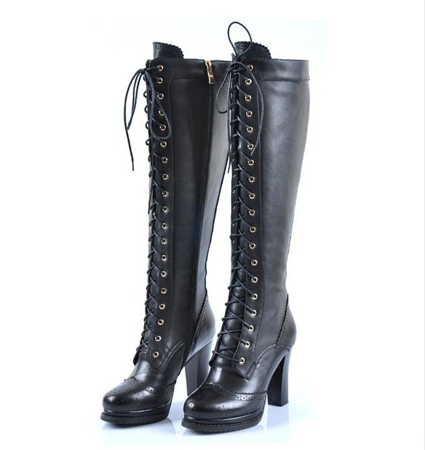 6fbe35cd79a Sheepskin Ladies Retro Real Leather Lace Up Block Heel Punk Emo Gothic Knee  High Boots  XZ066