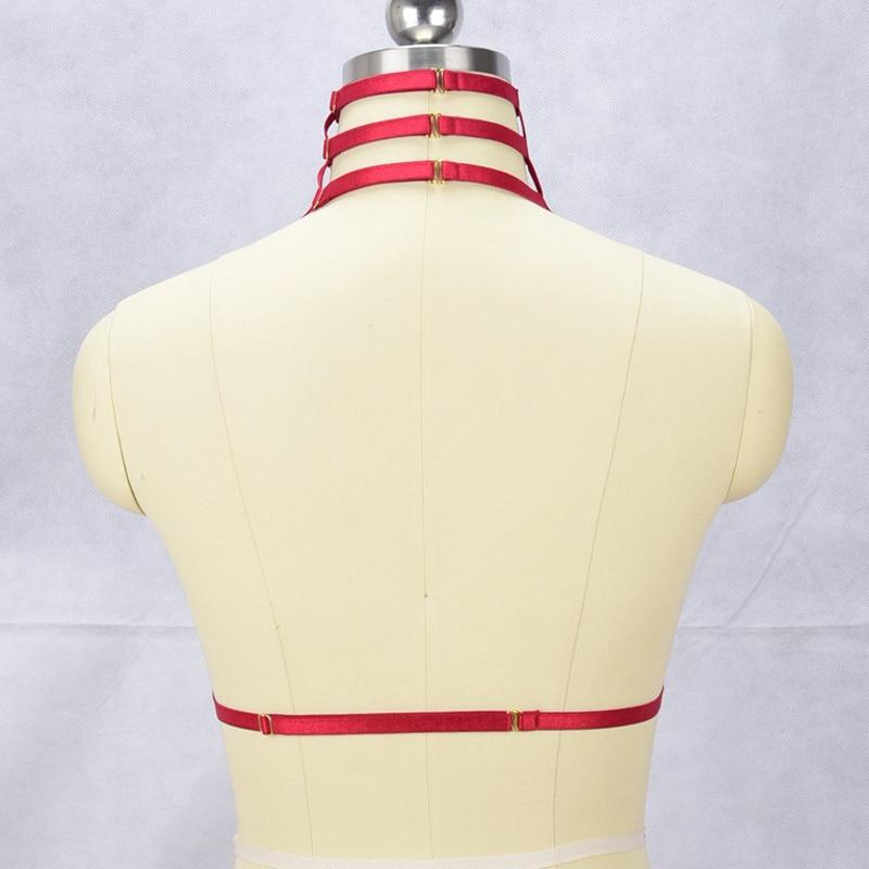 Image 5 - JLX.HARNESS  Women neck sexy harness Harajuku Gothic lingerie cage bra  bondage Strappy Lingerie Boho Goth Fetish Wear Crop Topscage bra bondageharness harajukuharness women -