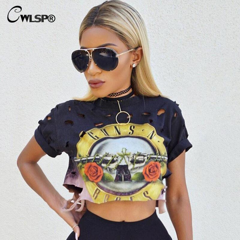 CWLSP Sexy Hole Women T-Shirt GUNS N ROSES Print Crop Top T Shirt Cropped Tops Hollow Out Short Sleeve Tee Shirt Femme QA1223
