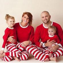 4c4352cdc9 Christmas Family Pajamas Sets Children Women s Stripe Patchwork Festival Long  Sleeve Home Clothes 2018 Autumn Winter Nightie