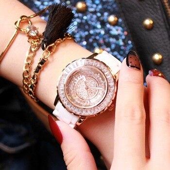 Luxury Women Watch Brands Crystal white Ceramic Fashion Design Bracelet Watches Ladies Womenwrist Watches Relogio Feminino