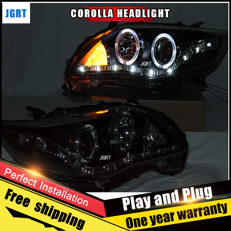 2PCS Car Style LED headlights for Toyota corolla 2011 for corolla head lamp LED DRL Lens Double Beam H7 HID Xenon bi xenon lens hireno headlamp for 2003 2009 toyota land cruiser prado headlight assembly led drl angel lens double beam hid xenon 2pcs