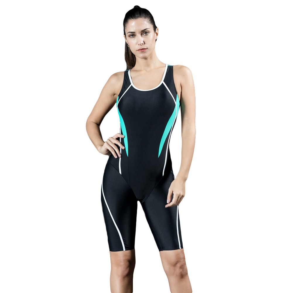 5cfc591a9b 2019 New Women Professional Sports One Piece Swimsuit Swimwear Racing  Competition Full Brief Knee Beach Bathing