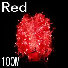 Красный цвет 100 метров 800 led Рождественские огни 8 режимов