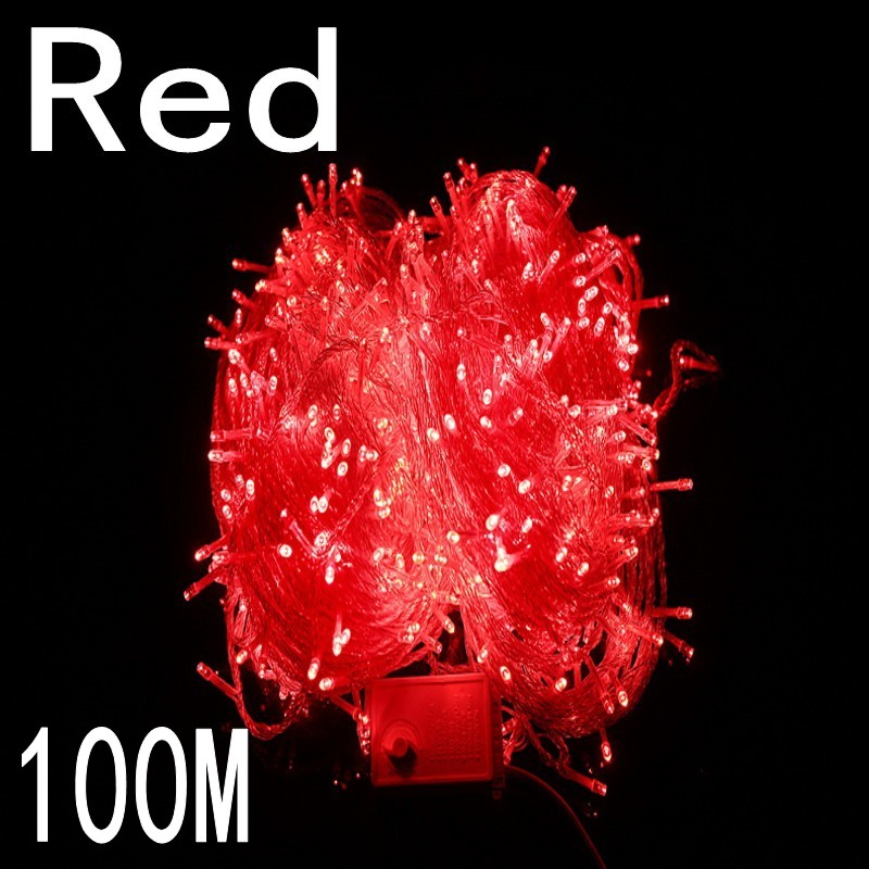 Red colour 100 meter 800 LED Christmas Lights 8 Modes for Decorative Christmas Holiday Wedding Parties Indoor / Outdoor Use браслет жемчуг белый 6 7 мм 16 см биж сплав
