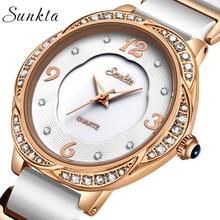 купить SUNKTA Women Watches Top Brand Luxury Casual Fashion Watch Women Ceramic Waterproof Quartz Clock Simple Sport Watch Ladies Watch дешево