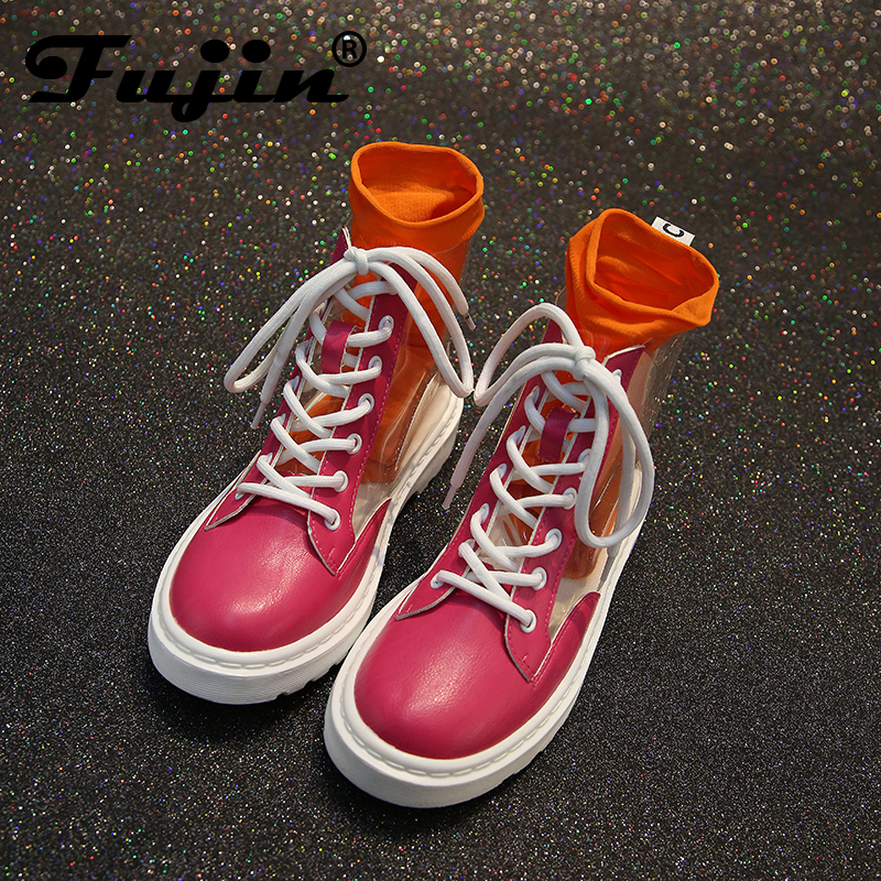 Fujin 2018 New Arrival Transparent Rain Boots Women Waterproof Booties Boots Water Jelly Shoes Lace Up Ankle Boots