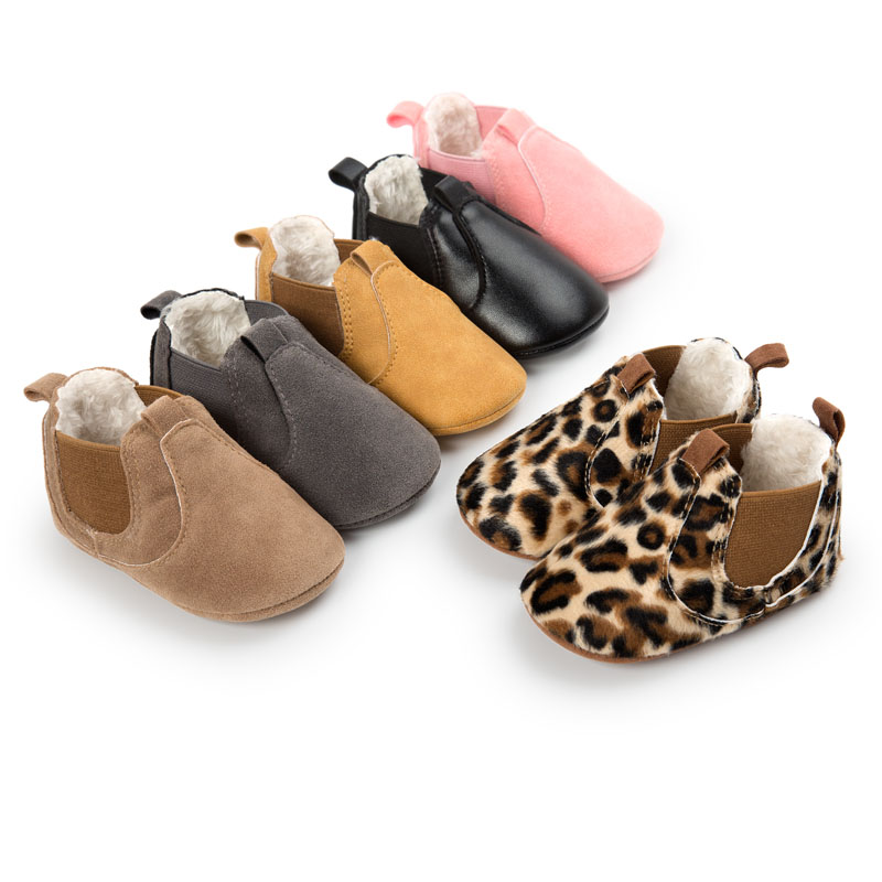 WONBO Winter 2018 Small PU Leather Baby Ankle Boots with Plush Fashon Leopard Infant Toddler Shoes Baby Moccasins