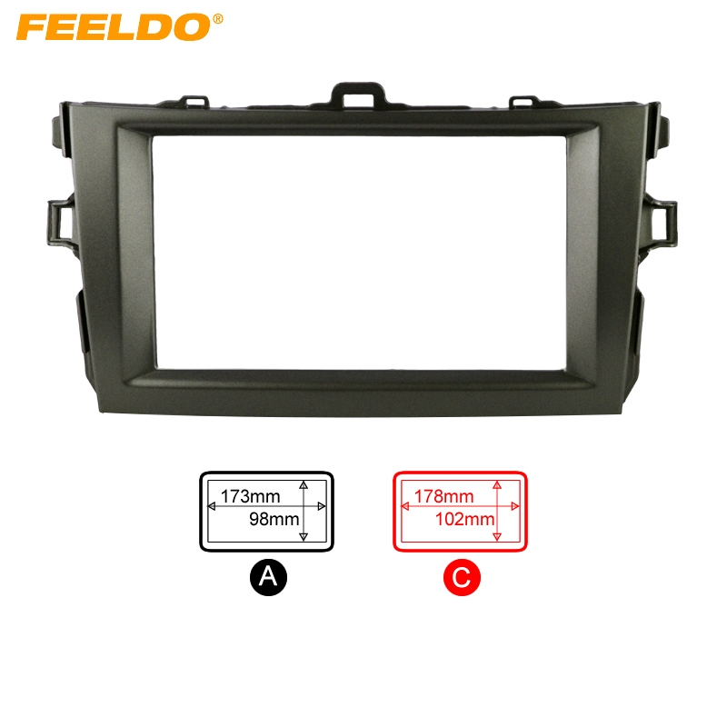 FEELDO Grey Car Refitting 2DIN Radio Stereo DVD Frame Fascia Dash Panel Installation Kits For Toyota Corolla (08~10) #AM2164