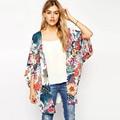 XL Plus Size Europe and America Style Women Loose Tops Chiffon Thin Coat Printed Kimono Blusas De Renda Feminino