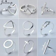 Jisensp minimalistyczna biżuteria srebrne geometryczne pierścienie dla kobiet regulowany okrągły trójkąt bicie serca palec pierścień torebki wlać femme