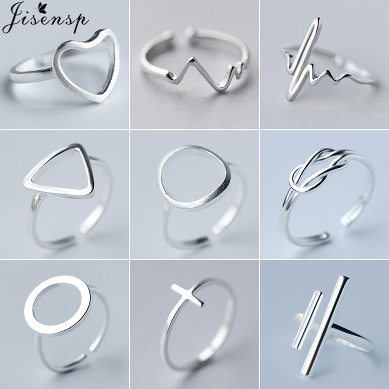 Jisensp Minimalist Jewelry Silver Geometric Rings For Women Adjustable Round Triangle Heartbeat Finger Ring Bagues Pour Femme
