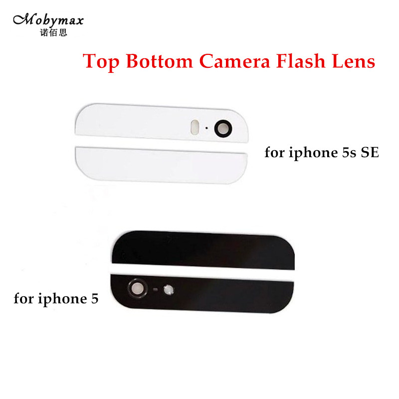 Back Cover Glass Camera Flash Lens Rear Housing For iPhone 5 5S SE Assemble Housing Top Bottom Replacement Parts with 3M Sticker
