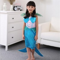 Kids halloween costume Girls blue mermaid cosplay dress fishtail skirt fancy dress party city stage performance clothing