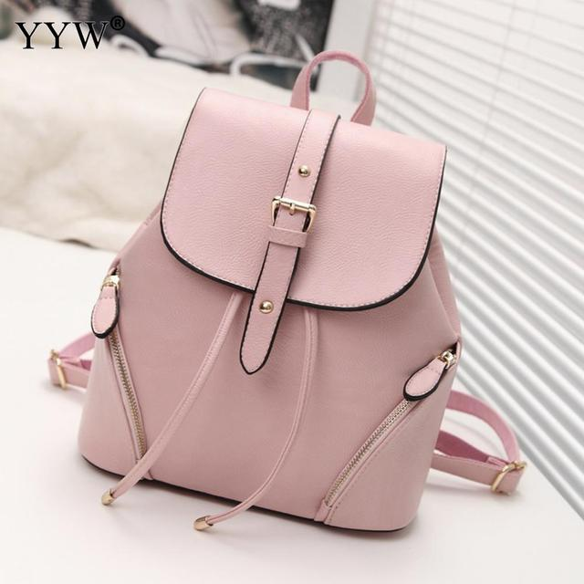 Cheap Women Leather Backpack Female Solid Bolack Pink School Backpack For  Teenager Girl Mochila Notebook Feminina Sac A Main f5db79a35dd26