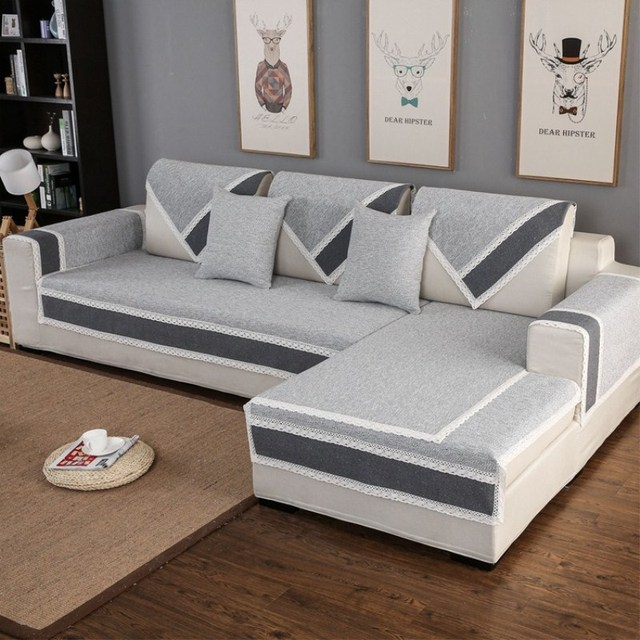 US $8.74 38% OFF|Cotton Linen Fabric Sofa Towel Sofa Cover Modern Style  Gray Color Couch Cover Slipcover Seat for L Corner Sofa Protective Towel-in  ...