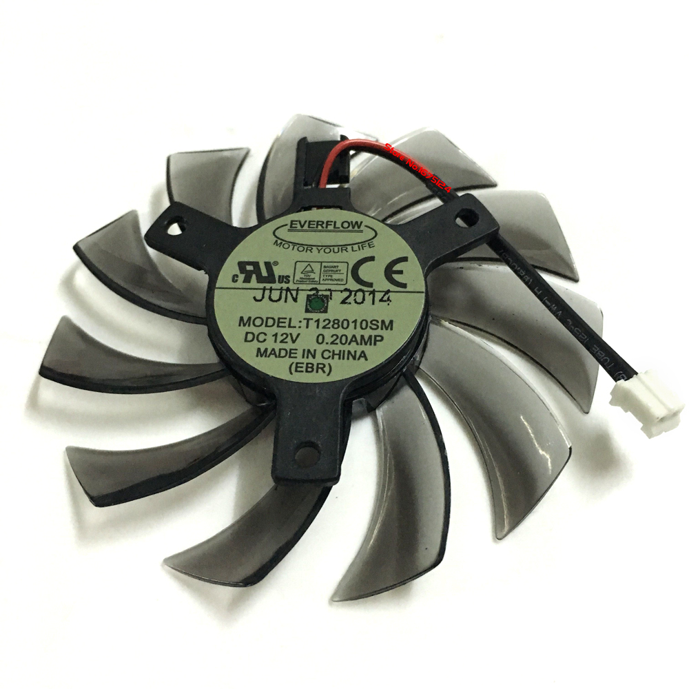 PLD08010S12H T128010SM 75mm Graphics Video Card VGA Cooler Fan Replacement 12V 0.20A 2Wire 2Pin for GIGABYTE GTX460 470 580 everflow 75mm 2pin 2lines 0 2a t128010sm computer radiator graphics card cooler fan for gigabyte radeon r9 270x 280x vga cooling