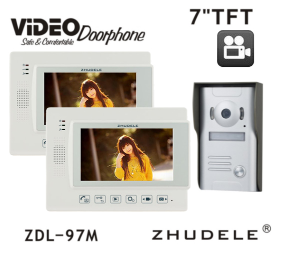 ZHUDELE Luxury Top Quality 7 Video Door Phone Touch button with SD Card, Doorbell Interc ...