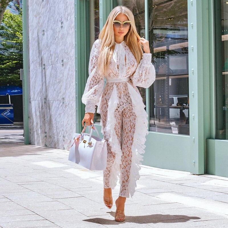Fashion Celebrity Runway Women Jumpsuit Elegant Long Sleeves Rompers Womens Jumpsuit Vintage Fishnet Embroidery Lace Bodysuit