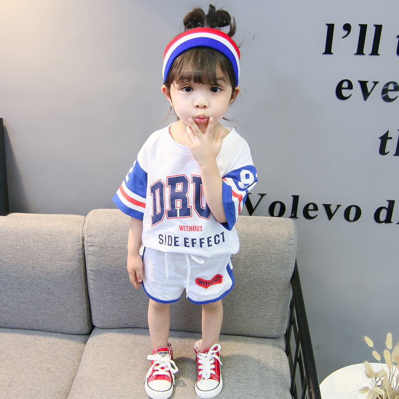 2018 new summer leisure sport o-neck short-sleeved shorts child outfit loose baby cotton letter absorb sweat breathable sets