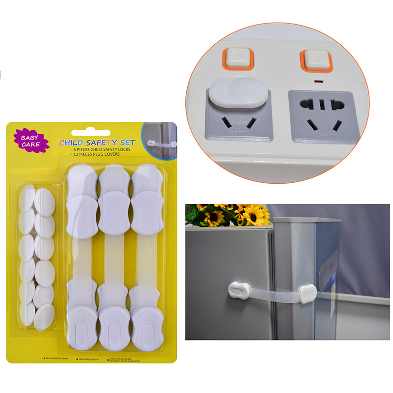 free shipping 18 pcs lot multifunction baby safety product kit with safety lock and baby pretective plug in Cabinet Locks Straps from Mother Kids
