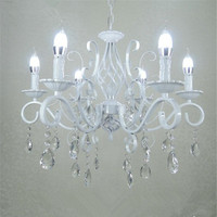 Vintage Wrought Iron Crystal Chandelier E14 Candle Lights Lighting Fixture Retro White Metal Crystal Ceiling Lamp