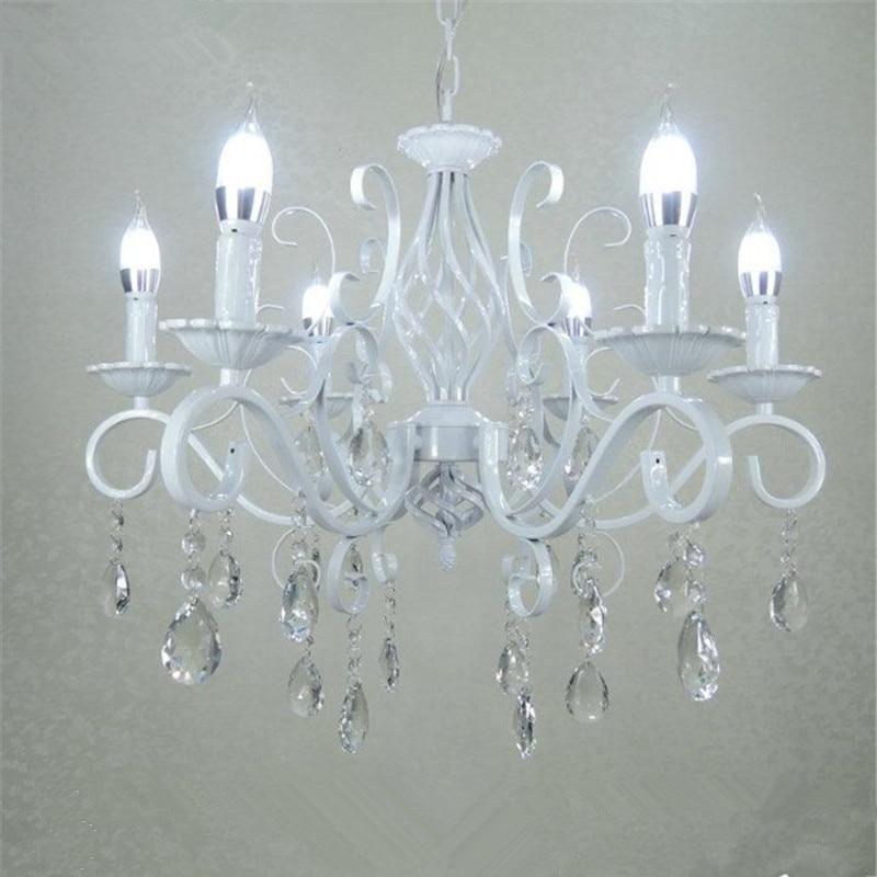 Vintage En Fer Forgé Lustre En Cristal E14 Bougie Lumières Luminaire Rétro Blanc Métal Cristal Plafond Lampe