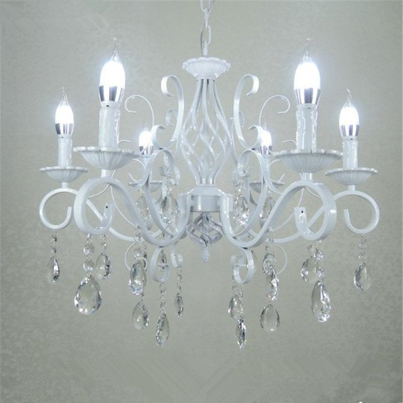 Vintage Wrought Iron Crystal Chandelier E14 Candle Lights Lighting Fixture Retro White Metal Crystal Ceiling Lamp christmas european fashion vintage chandelier ceiling lamp 6 candle lights lighting fixtures iron black white home lighting e14