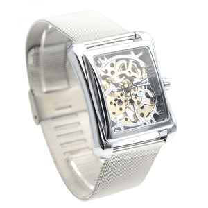 Image 2 - רטרו Mens שלד יד רוח מכאני שעונים שעוני יד לנשים שעונים מלבן שעון יוקרה להקת נירוסטה