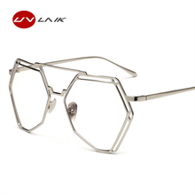 961667808c UVLAIK Vintage Flat Top Polygon Oversized Glasses Clear Lens Men Women  Fashion Gold Metal Frame UV400 Eyeglasses