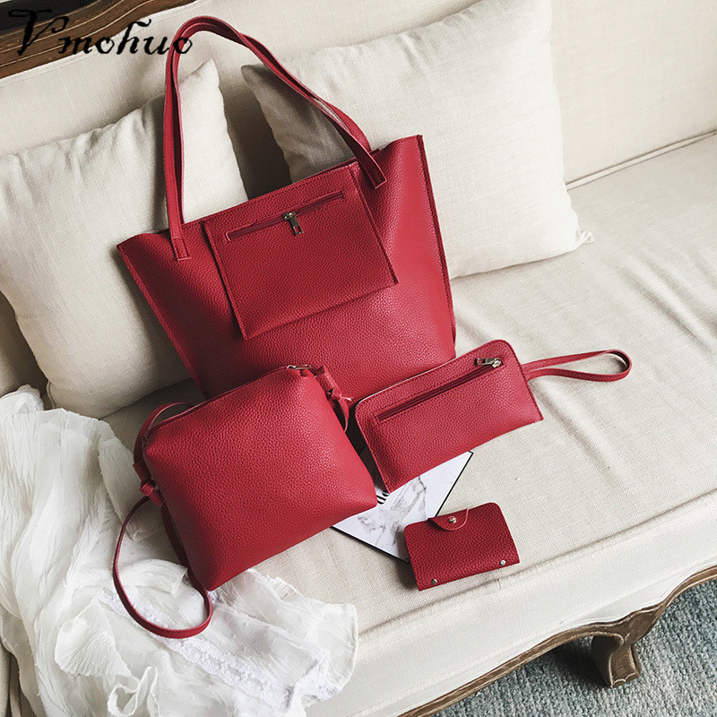 VMOHUO 4pcs/set Fashion Women PU Leather Handbag Lady Large Capacity Shoulder Bag Sets Messenger Bag Clutch Casual Tote Bags 5