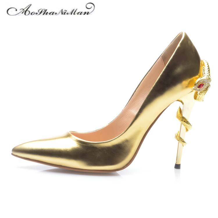Bridal gold wedding shoes Sexy party High Heels 2017 Newest Pointed Toe Patent Leather colors Pumps Snake heel  Women Stilettos