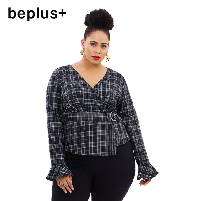 Eileen Elisa Vintage Blouses Plus Size Plaid Tops Long Sleeve Shirt Women Streetwear 2018 Casual V-neck Blouse Large Size