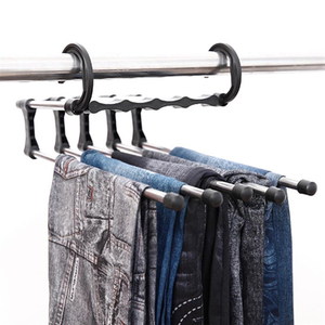 Doreen Box Creative Clothes Rack Movable Hangers Home Multifunctional Drying Racks Trousers Pants Scarf Multi-layer Storage Rack