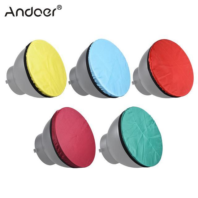 """Andoer 5 色写真撮影ライトソフトディフューザー布キットのための 7 """"180 ミリメートル標準スタジオストロボリフレクター 5 色 /セット"""
